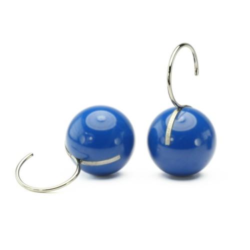 Kugelohrhänger, blau, kurz